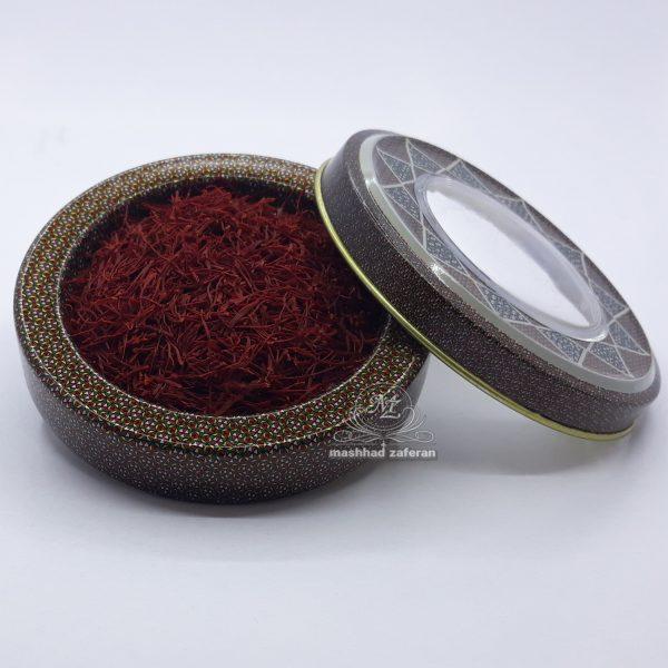 زعفران سرگل ممتاز 1 مثقالی در ظرف فلزی خاتم